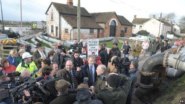 Environment Secretary Owen Paterson visiting Northmoor Pumping Station in Somerset
