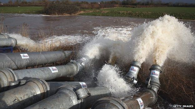Flood water is pumped into the river near Fordgate