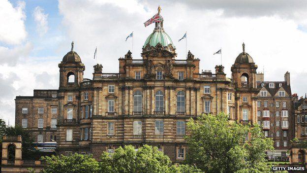 British bank HBOS corporate headquarters are pictured in Edinburgh