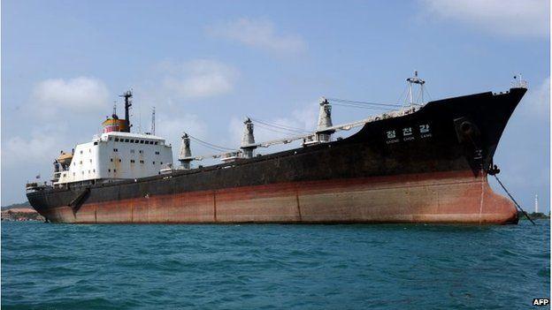 North Korean cargo ship, the Chong Chon Gang, at anchor in front of the Sherman Base, near Colon in Panama