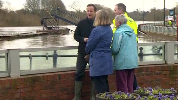 Prime Minister David Cameron in flood-hit Worcestershire