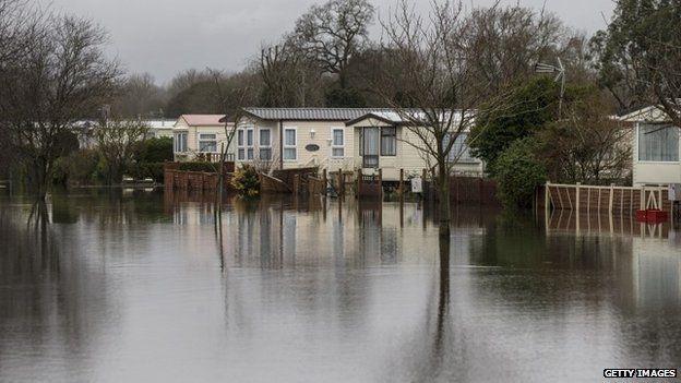 Flooded caravan park in Hurley, Berkshire
