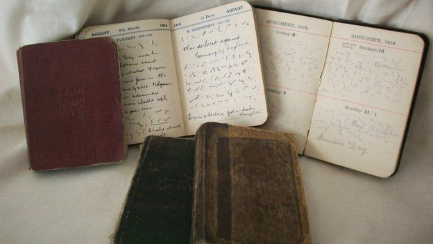 Diaries , and one of the five diaries, showing some open pages (in colour.)