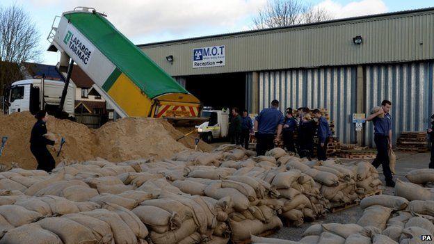 Sandbags being filled