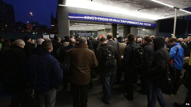 Commuters at King's Cross during the strike
