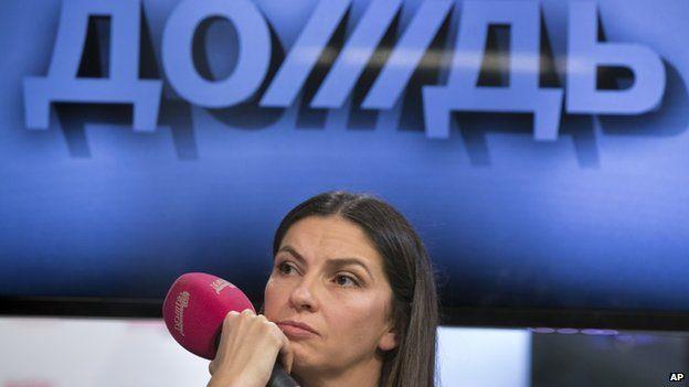 Nataliya Sindeyeva, Dozhd director, at a news conference on 10 February