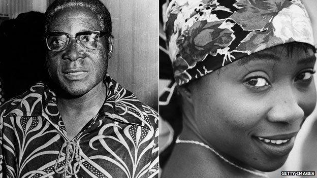 Left: Robert Mugabe in 1976 Right: Sally Mugabe in 1955