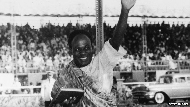 Then-Ghanaian Prime Minister Kwame Nkrumah arrives at the Assembly House in Accra for the opening of the new Parliament and the declaration of Ghana's Independence by the Duchess of Kent, 7 March 1957