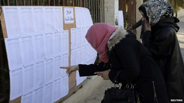 People look for their names at a polling station in Benghazi, Libya - 20 February 2014