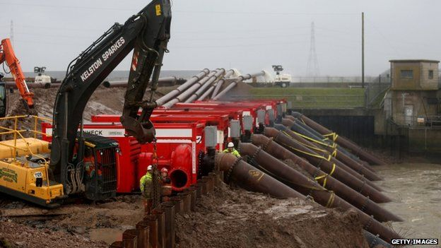 Engineers install high capacity Dutch pumps beside the River Parrett near Bridgwater