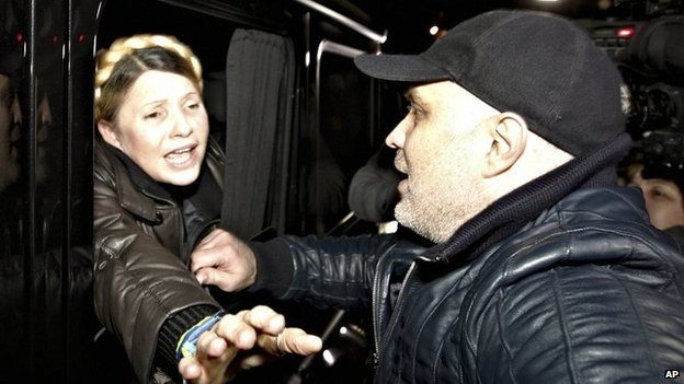 Former Ukrainian Prime Minister Yulia Tymoshenko is greeted by supporters shortly after being freed from prison in Kharkiv