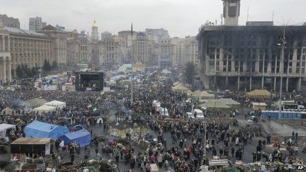 """General view of Kiev""""s Independence Square, the epicenter of the country""""s recent unrest"""