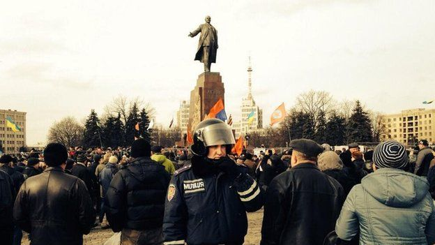 A pro-government protest in the city of Kharkiv