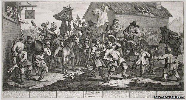 "Hogarth's engraving ""Hudibras Encounters the Skimmington"""