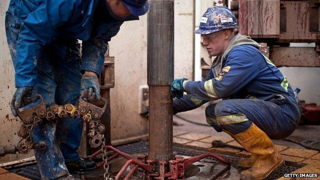 Drill operators on shale gas rig