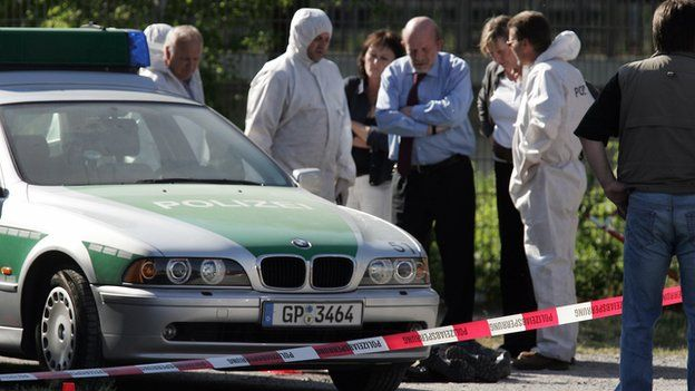 Police and forensic officers at the site of a shooting in Heilbronn, Germany