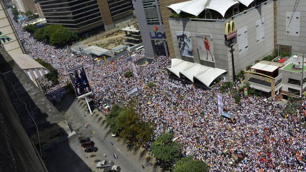 Protest in Caracas on 22 February 2014