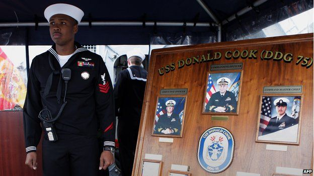 A sailor stands aboard the USS Donald Cook 11/02/2014