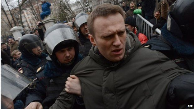 Police officers detain protest leader Alexei Navalny outside Zamoskvoretsky district court in Moscow, on 24 February