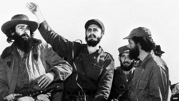 Cuban revolution leaders Camilo Cienfuegos (L), Fidel Castro and Huber Matos (R)