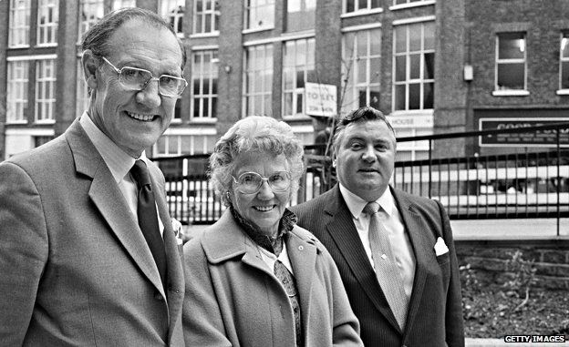 Charles Oxley, Mary Whitehouse and Conservative politician Geoffrey Dickens London, 14 November 1984