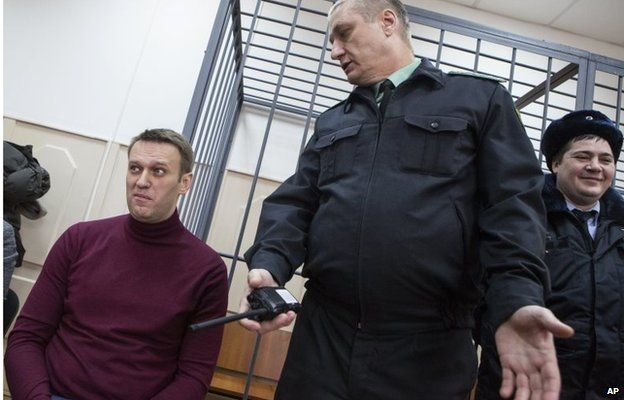 Russian opposition activist and anti-corruption crusader Alexei Navalny in the court room in Moscow