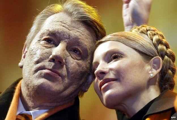 Opposition leaders Viktor Yushchenko and Yulia Tymoshenko led the 2004 mass protests
