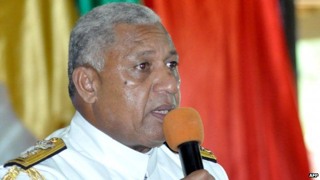 Fiji strongman Frank Bainimarama speaks during a ceremony as he resigns as military chief, in Suva, 5 March 2014
