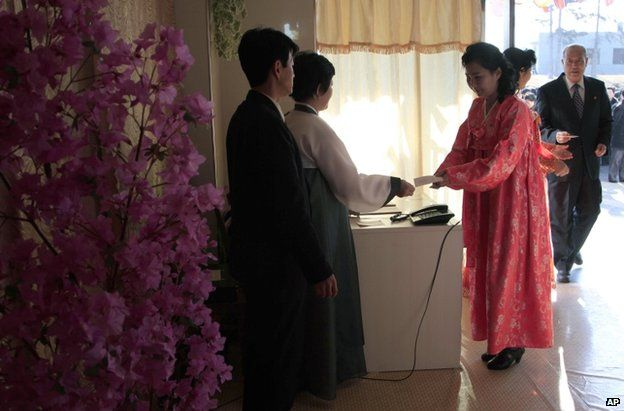 North Koreans vote in the capital Pyongyang, 9 March