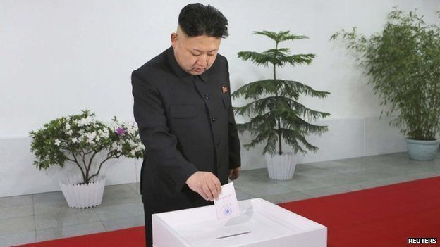 North Korean leader Kim Jong-un visits the Kim Il Sung University of Politics to take part in the election of a deputy to the Supreme People's Assembly