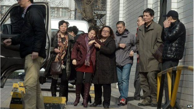 Relatives of passengers in Beijing