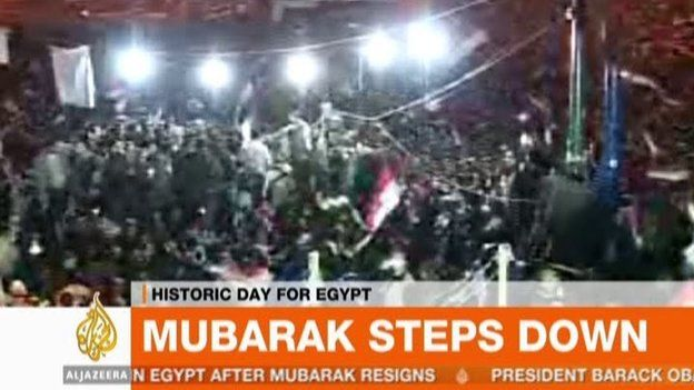 Screengrab from al-Jazeera English on 11 February 2011