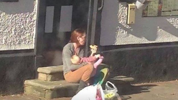 The picture showing Emily breastfeeding