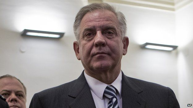 Ivo Sanader, stands in a courtroom in Zagreb, Croatia (11 March 2014)