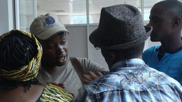 Gay rights activists in Kampala, Uganda on 11 March 2013