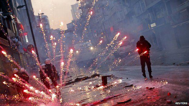 Firework thrown near Taksim Square, Istanbul. 12 March 2014