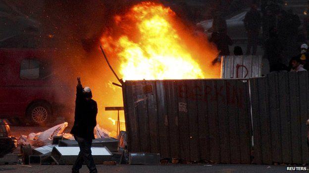 Fire near Taksim Square, Istanbul. 12 March 2014