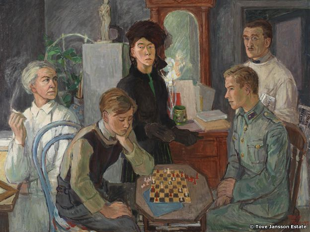 Tove Jansson's family, with brothers playing chess in the foreground. Tove Jansson: Family (1942). Private collection