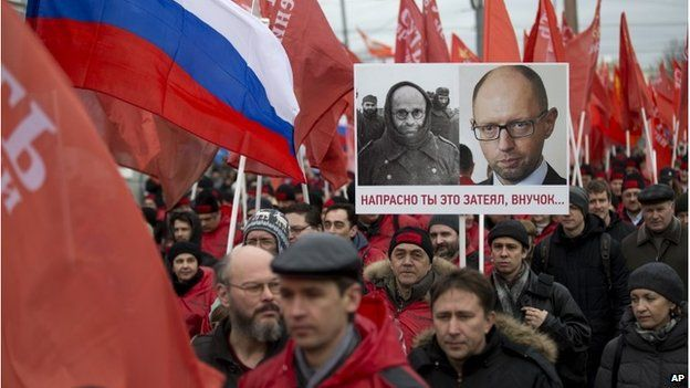 Demonstrators march in support of President Putin's policies on Crimea.