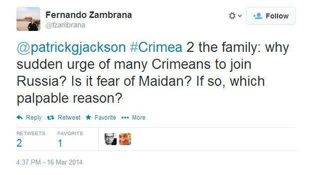 Fernando Zambrana asks: Why sudden urge of many Crimeans to join Russia? Is it fear of Maidan? If so, which palpable reason?
