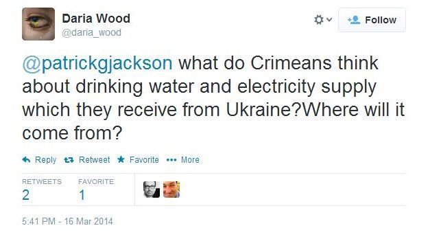 Daria Wood asks: What do Crimeans think about drinking water and electricity supply which they receive from Ukraine? Where will it come from?
