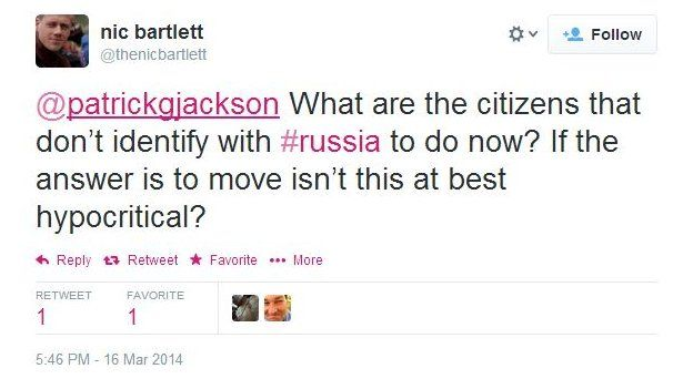 Nic Bartlett asks: What are the citizens that don't identify with Russia to do now? If the answer is to move, isn't this at best hypocritical?