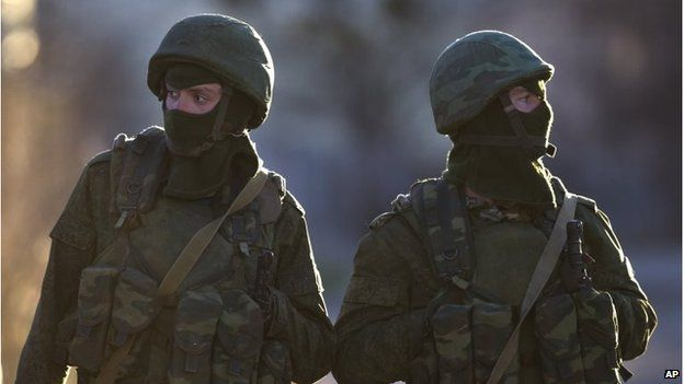 Pro-Russian soldiers in Perevalne, Crimea (15 March 2014)