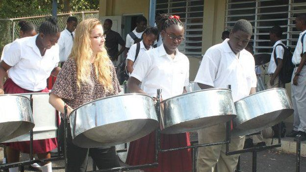 Becky playing Steel Drum