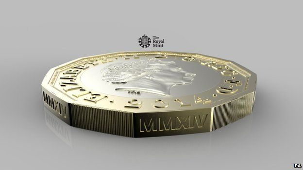 Undated handout photo issued by HM Treasury of the side of a new one pound coin announced by the government