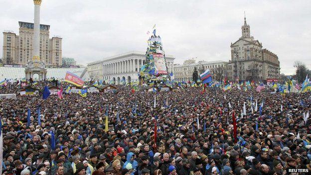 Pro-EU protest in Independence Square (Maidan) in Kiev, Ukraine (8 Dec 2014)