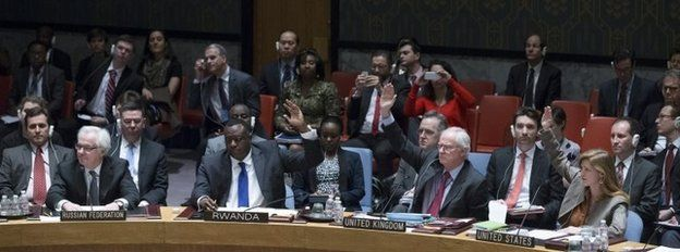 Voting at the UN on a draft resolution condemning Russia over its Crimea intervention (15 March 2014)