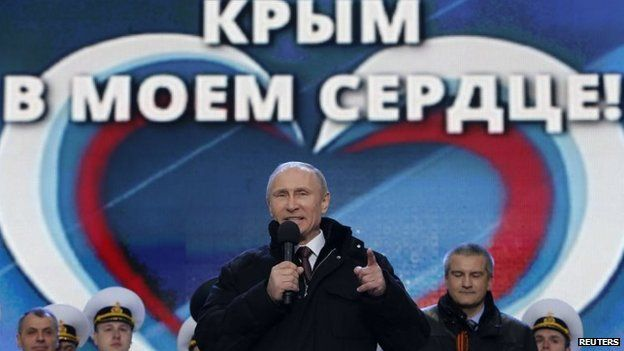Russian President Vladimir Putin in Red Square (18 Mar 2014)