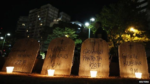 A man walks walks behind mock tombstones with the names of victims of violence, during a protest against Nicolas Maduro's government at Altamira square in Caracas March 19, 2014.