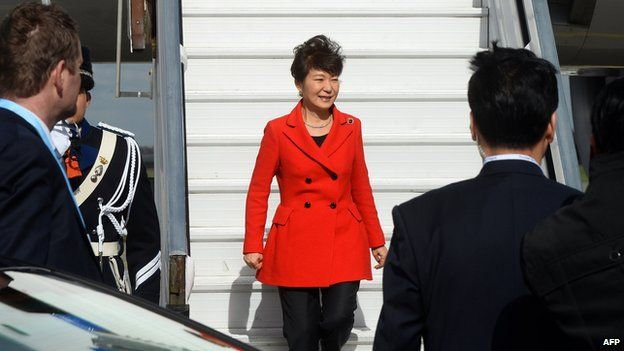 South Korean President Park Geun-hye arrives at Schiphol airport in Amsterdam on March 23, 2014